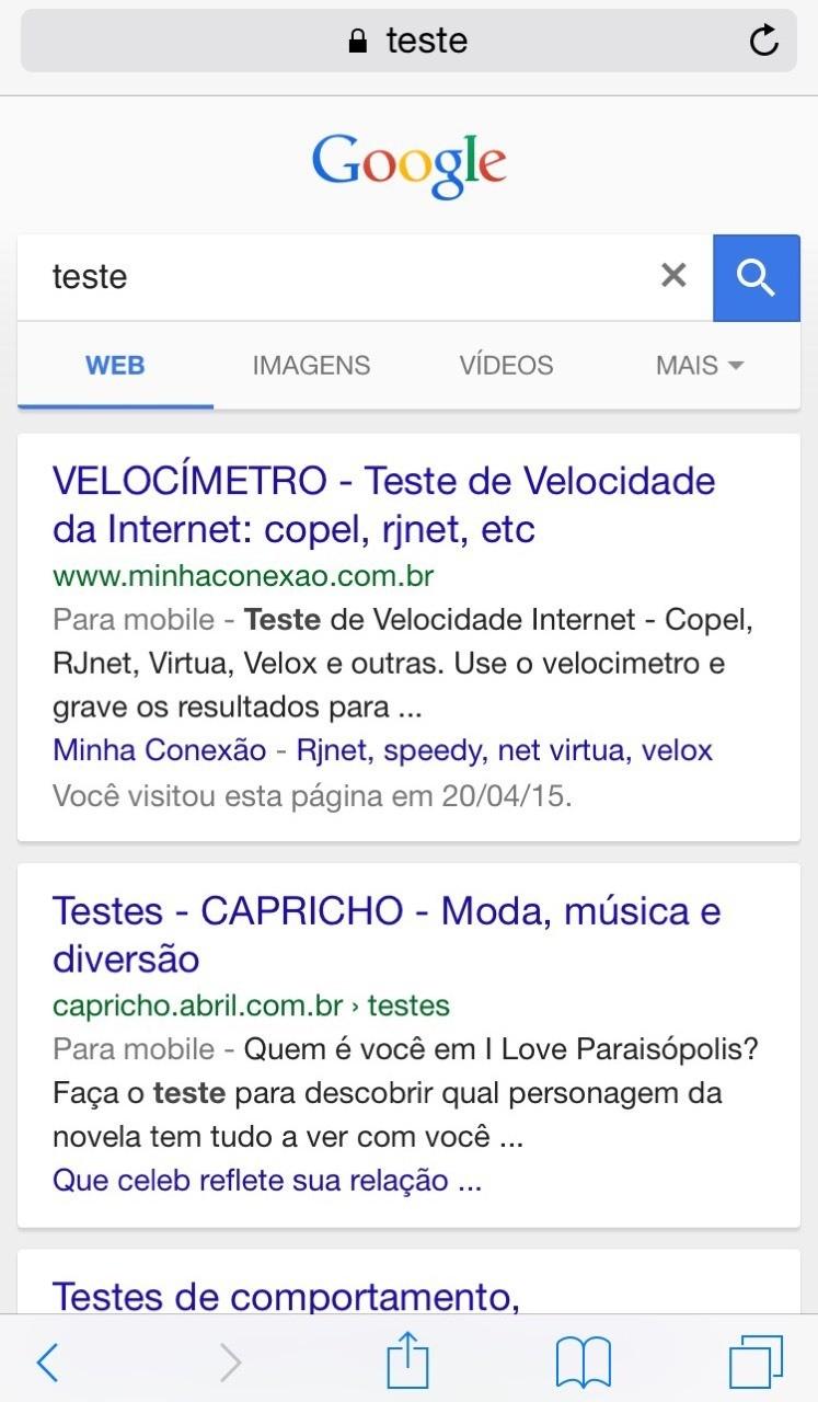 Perceberam a alteração na interface de busca mobile do Google?