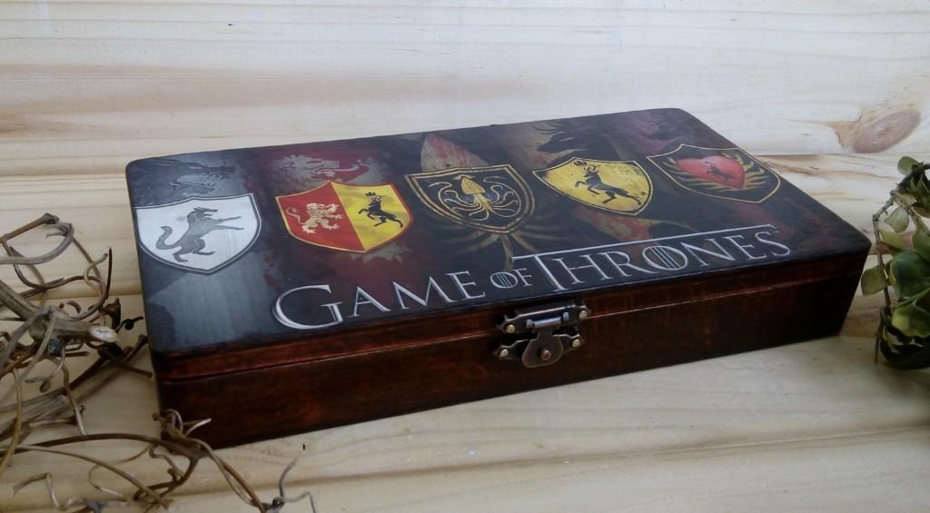 Game Of Thrones Inspired Gift Box, Gift For Men, Wooden Box Money Box Gift For Him Keepsake Box Black Gift For Fans Holder Business Card GoT