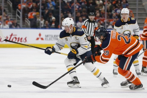 NHL roundup: Eichel extends streak, Sabres down Oilers in OT