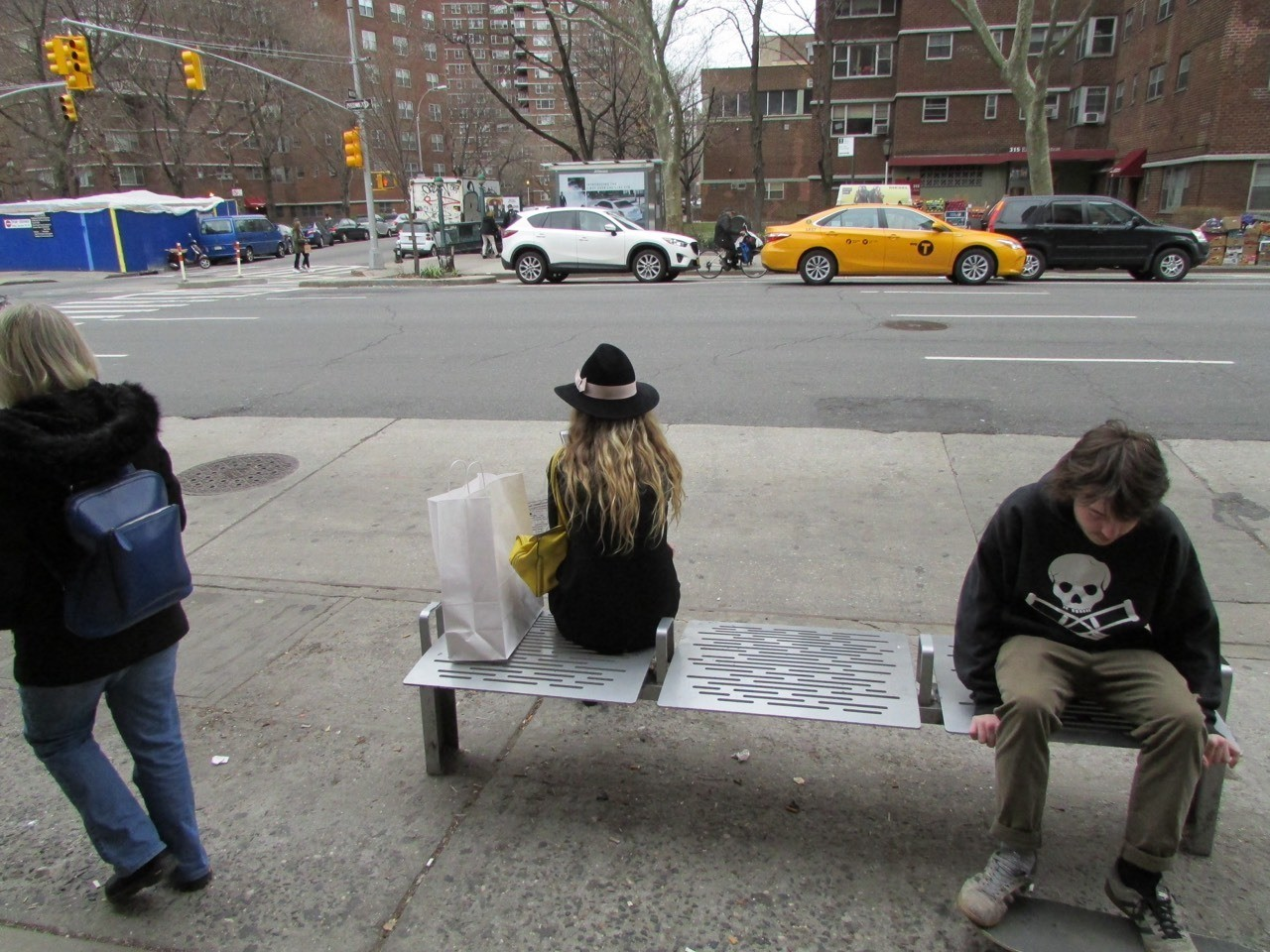 Chelsea, NY, waiting on the bus