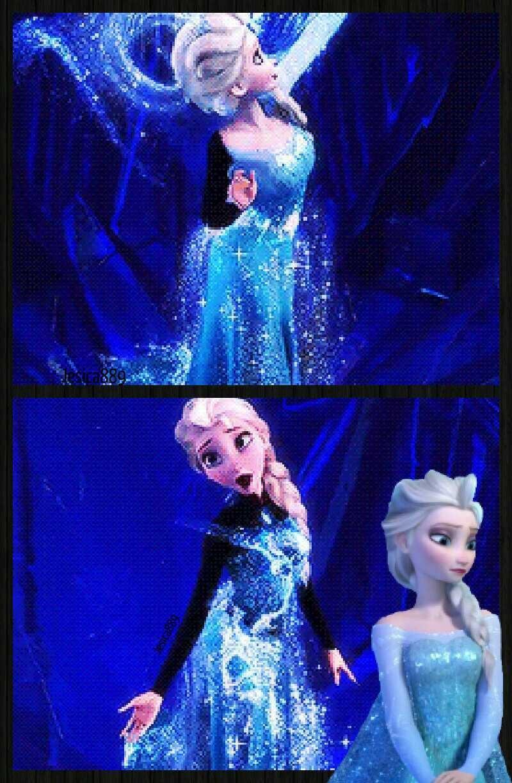 El vestido de Elsa al principio es informal con manga larga negra y el pelo recojido en un moño pero después de la transformación del vestido dentro del castillo helado es un vestido que parece hecho de hielo con un escote de una tela fina para no crear tanto escote y el peinafo el moño se lo suelta y le queda una trenza preciosa.