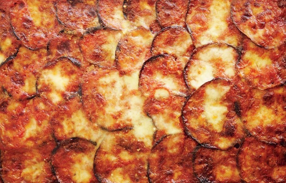 Eggplant, Mozzarella, and Saffron Rice Bake