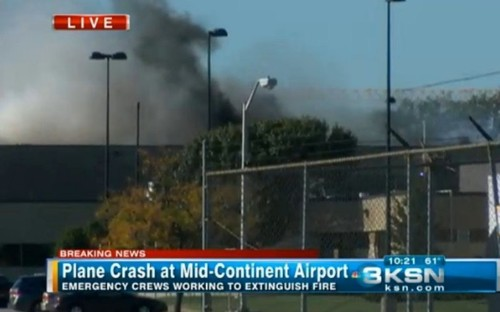 Plane Hits Building at Kansas Airport