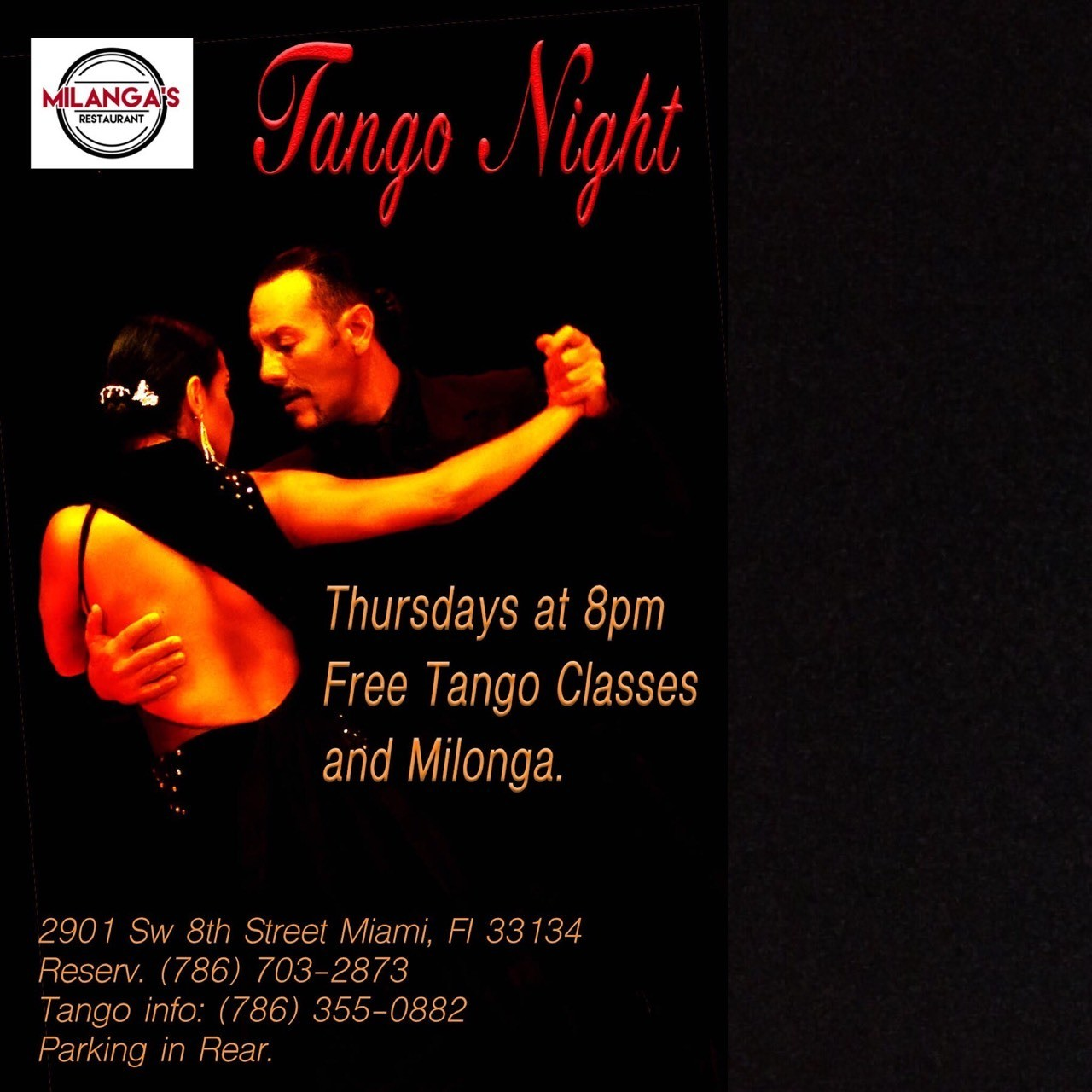 Free Tango Classes and Milonga in South Miami. Little Havana, Coral Gables