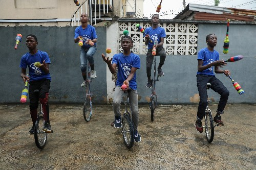 One-wheeled juggling: Lagos children learn new skills at unicycle academy