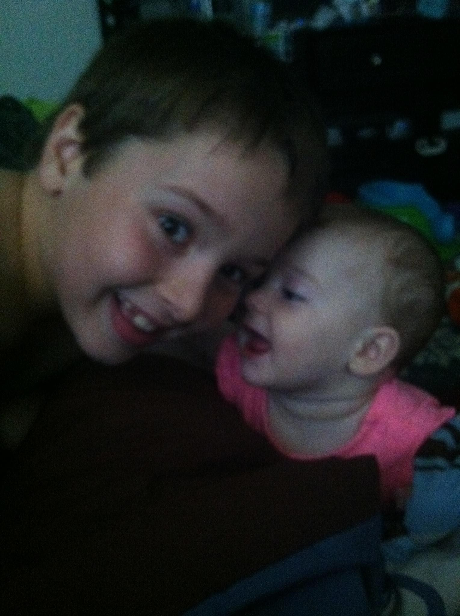 Brother and sister being silly