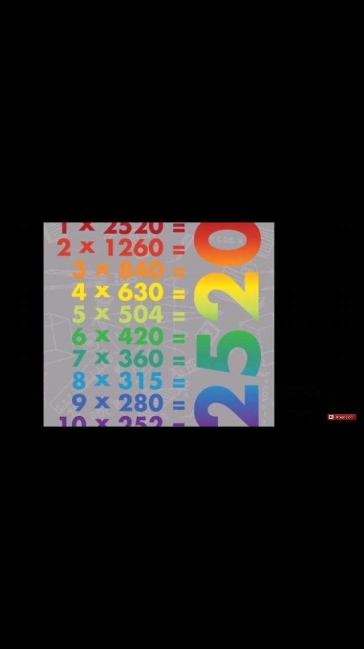 2520 2520 sayısı ,1 ile 10 arası tüm sayılara tam olarak bölünebilen en küçük sayıdır.