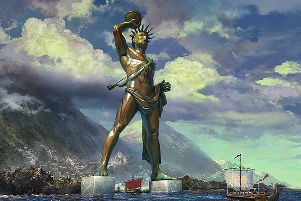 في المدخل من ميناء الجزيرة الخاصّة بالبحر الأبيض المتوسّط من رودس في اليونان. كان هليوس رودس من أشهر التماثيل الضخمة القديمة ، وقد حطمه زلزال في عام 227 ق. م وكان هذا التمثال مصنوعاً من البرونز المقوى بالحديد . صُنع هذا التمثال البرونزي الضخم لإله الشمس هليوس، والذي نصب مطلا على المرفأ، من قبل المثال كارس (Chares) في نهاية القرن الرابع، ظل التمثال منتصبا في مكانه 200 سنة قبل أن يسقط بفعل الزلزال، وبقي مطروحاً هناك حتى عام 654م عندما استولى عليه تجار الخردوات المعدنية ونقلوه على ظهر الجمال إلى سوريا. أخذ بناء التّمثال الضّخم 12 سنةً و أُنْهِيَ في 282 قبل الميلاد . لسنوات, وقع التّمثال في مدخل الميناء, حتّى ضرب زلزال قويّ رودس حوالي 226 قبل الميلاد . المدينة أُتْلِفَتْ على نحو سيّئ, و التّمثال الضّخم كُسِرَ في أضعف نقطته - - ال الرّكبة . تلقّى روديانز عرضًا فوريًّا من بطليموس يورجيتيز مصر ثالث للتّغطية كلّ تكاليف الإعادة للأثر المقلوب . لكنّ, وسيط الوحي اُسْتُشِيرَ و منع إعادة الانتصاب . عرض بطليموس رُفِضَ .