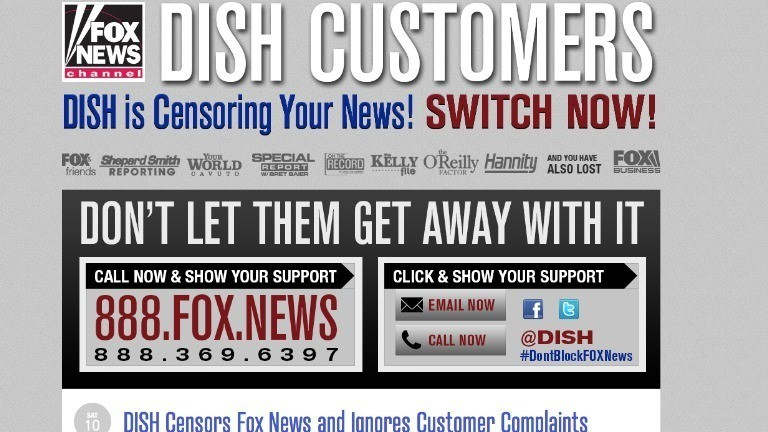 Fox says Dish is 'censoring' the news as blackout drags on