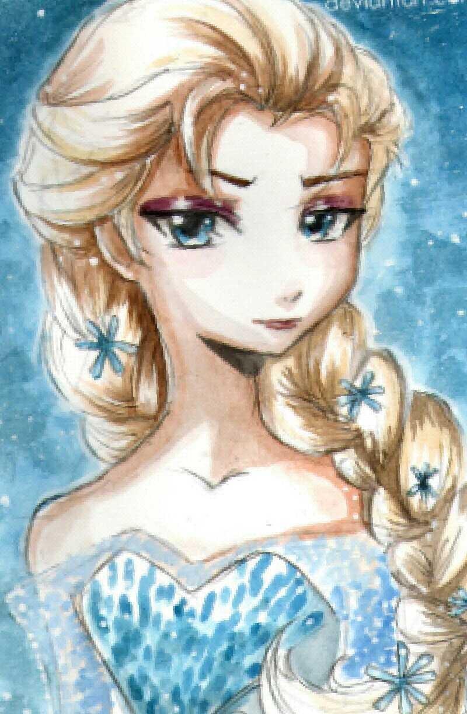 Elsa dibujada con estilo manga