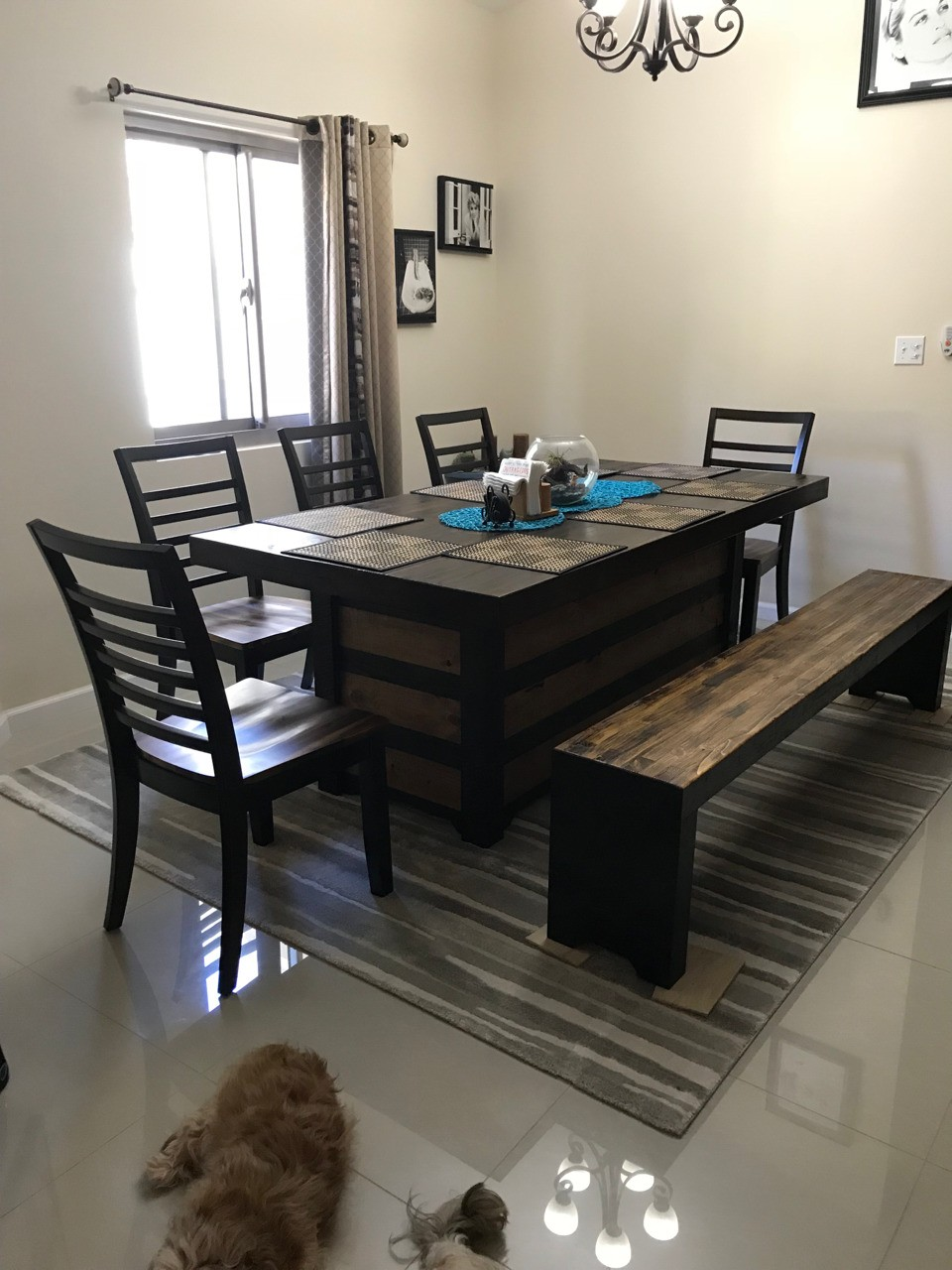 Dining Table w/bench. Base is reversible with an aging finish. Stained dark walnut, golden oak and Jacobean. Bees wax to finish off. Chairs by Ashley.