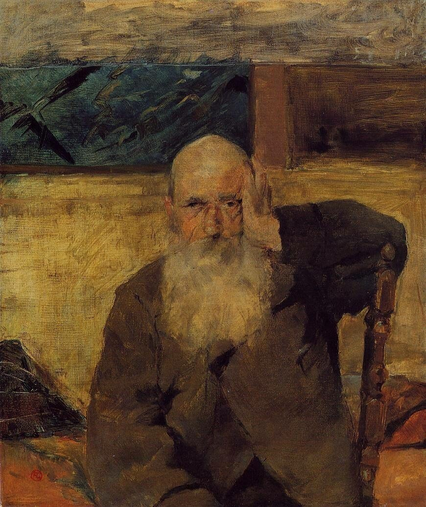 """Anri de Tuluz-Lotrek """"Seleyranlı qoca kişi"""" (1882) Parsifal"""