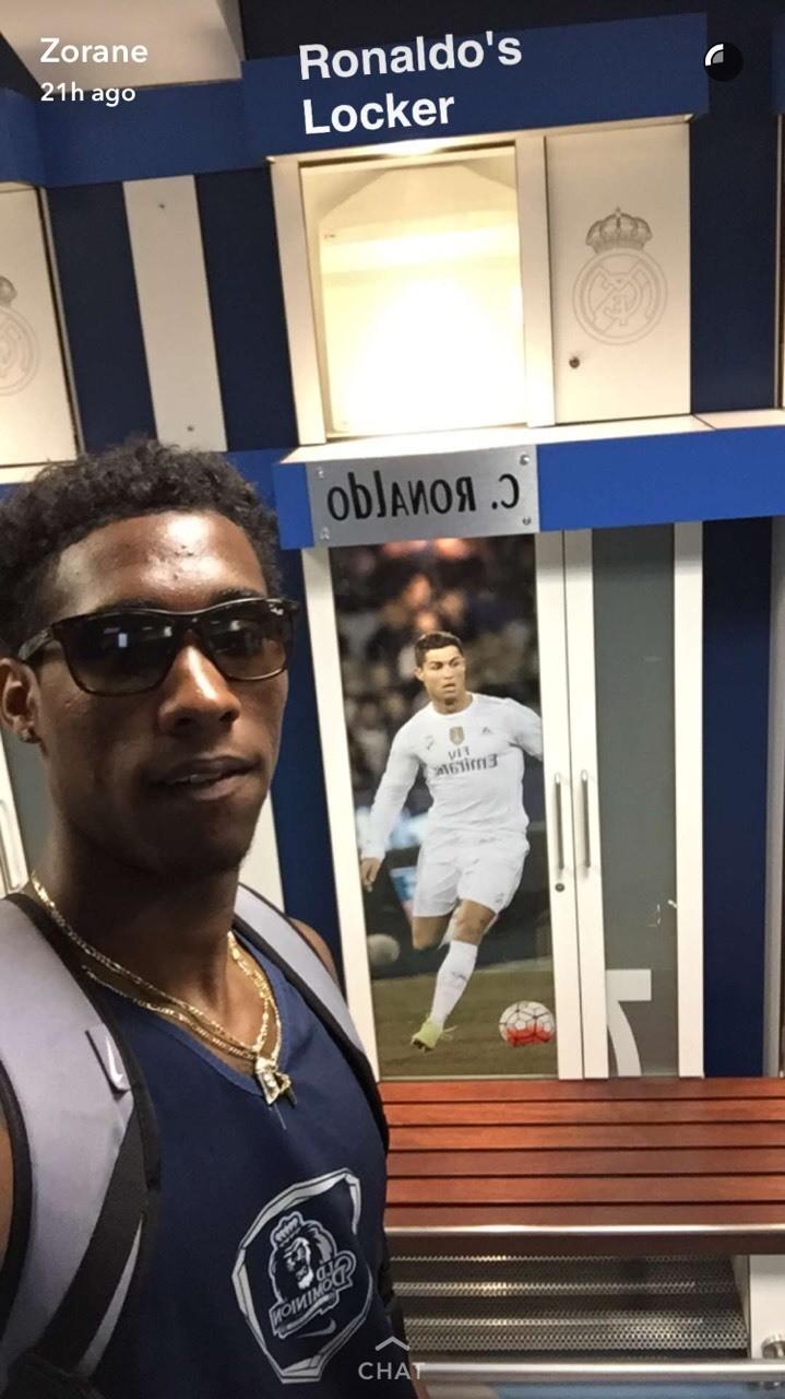 Me in front of Ronaldo's locker