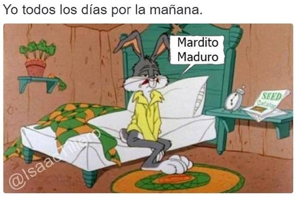 Cada venezolano cuando se levanta le mienta la puta madre a maduro y todos esas escoria chavistas