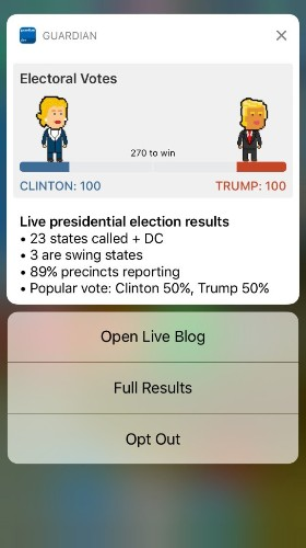 The Guardian will push up-to-the-moment election results to smartphone lock screens Tuesday