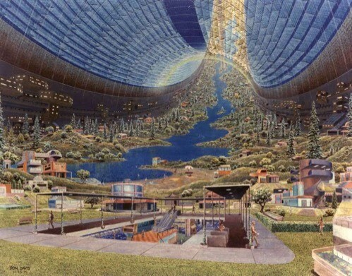 Don Davis's vision of life on a space station as envisioned in the late 20th Century. After NASA's moon landings, anything seemed possible.
