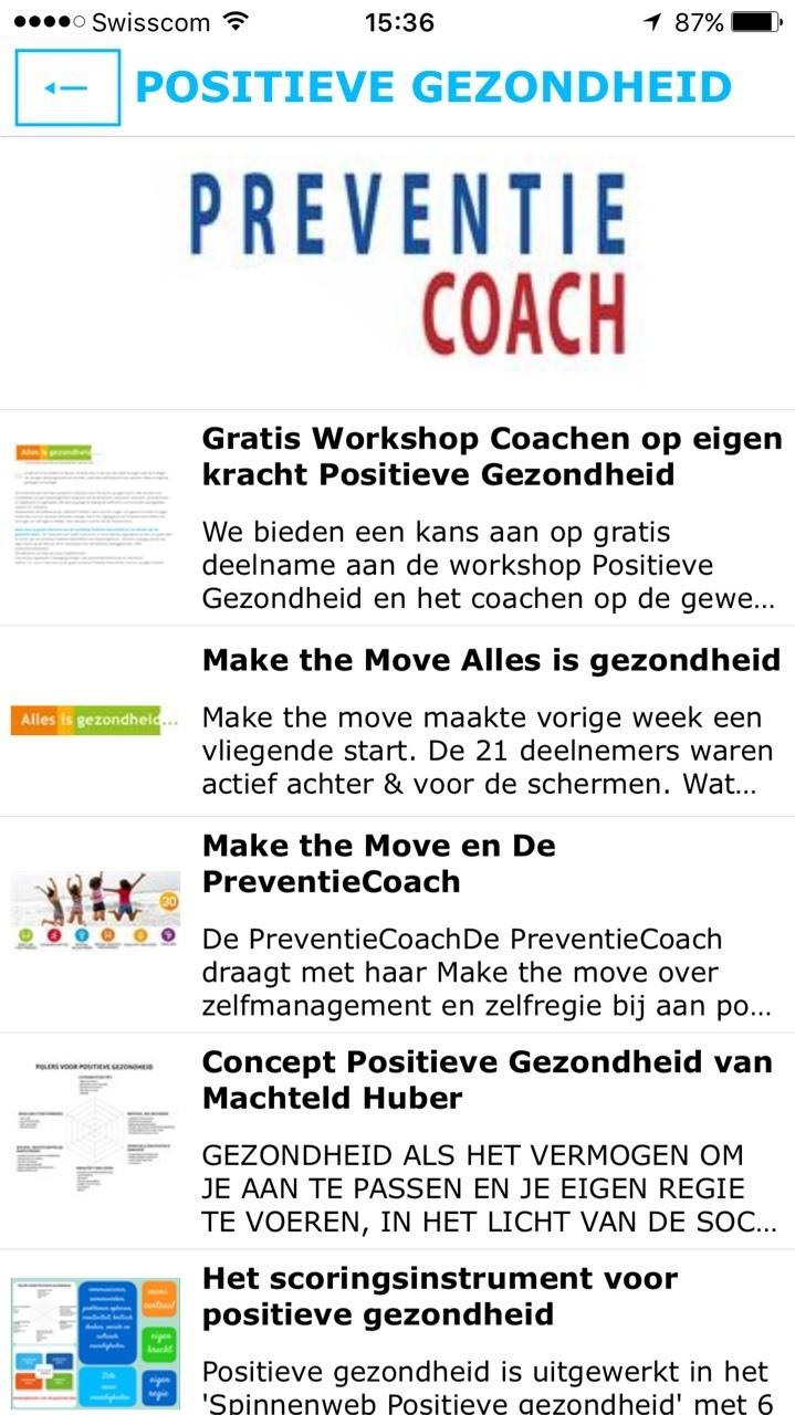 In de gratis app preventiecoach meer informatie over positieve gezondheid