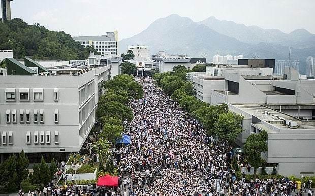 Hong Kong students boycott class to demand greater democracy