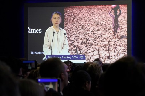 Greta and Trump at Davos: Pictures