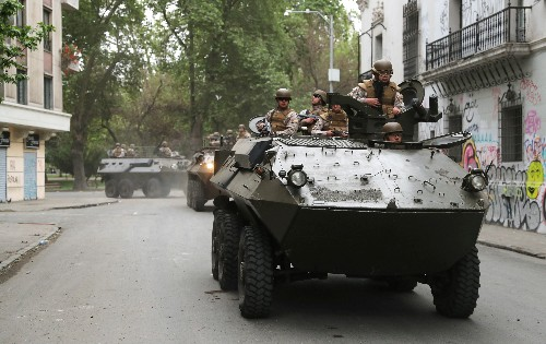 Troops on streets of Chilean capital Santiago after state of emergency announced