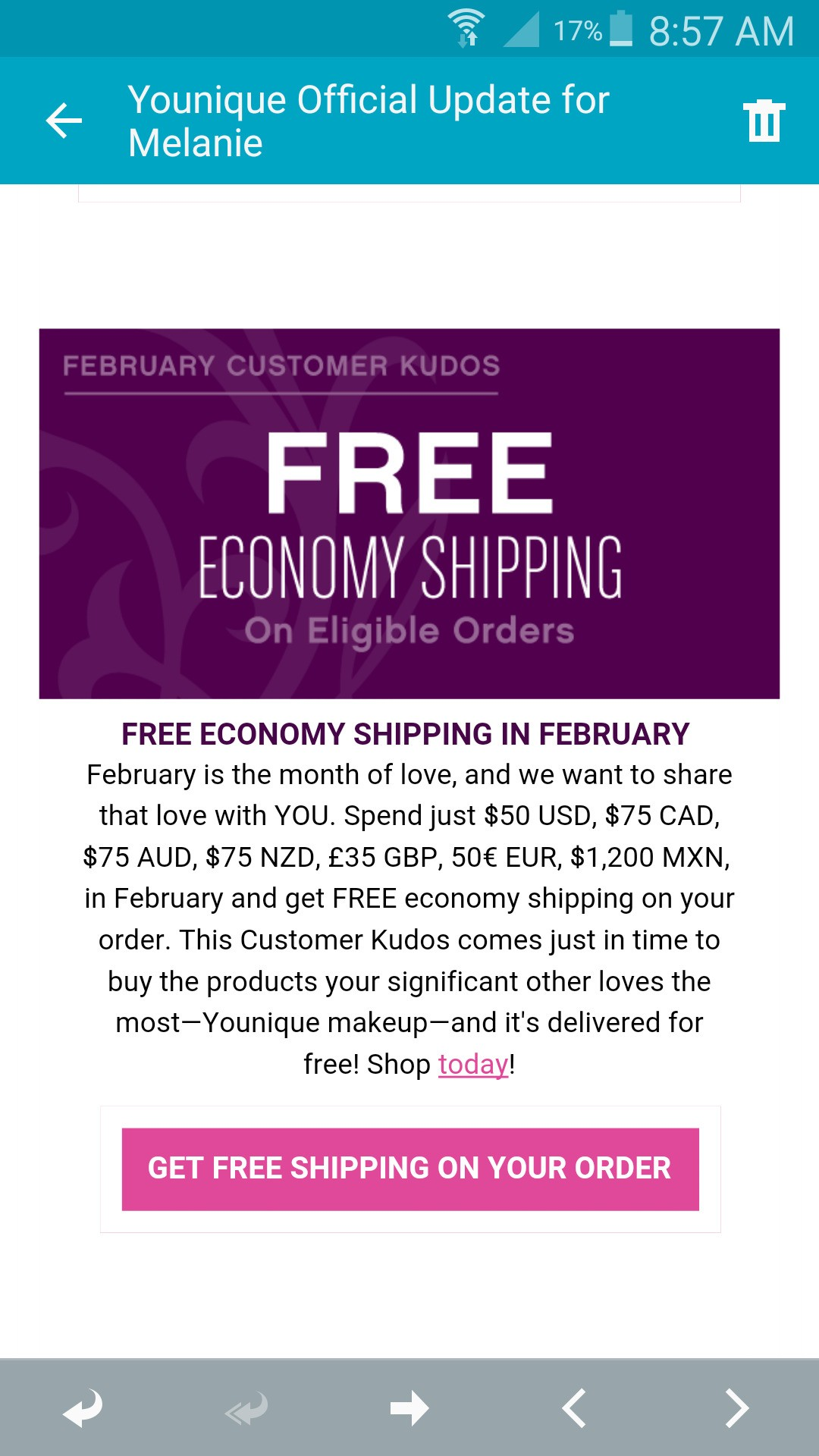 Do not miss out on this amazing free shipping deal for February. #free #freeshipping #melsyouniquelife #ilovemakeup #beautyobsessed #makeup #cairns #cairnsgirl #cairnslife #youniquemakeup #getitnow