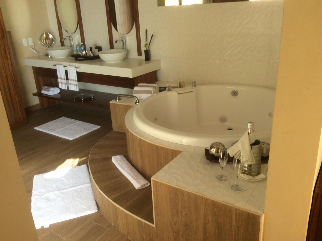 Bathroom in Over Water Suites at El Dorado Maroma