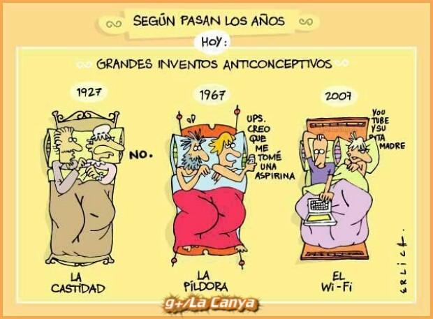 #HumorGráfico #Humor Grandes inventos anticonceptivos según pasan los años...