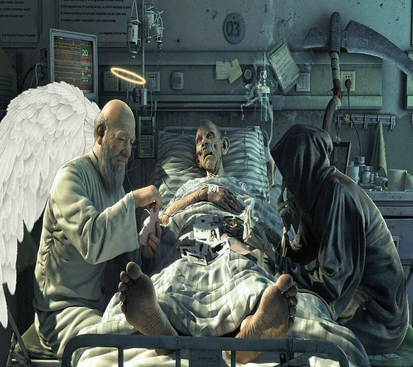 Angel and death waiting