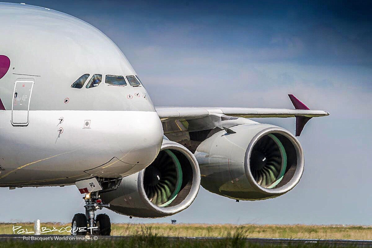 A Qatar Airways Airbus A380 just landed in Paris Roissy CDG Airport