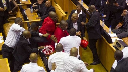 South Africa MPs scuffle during presidential address