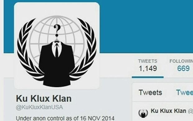 Anonymous hacks Klu Klux Klan Twitter