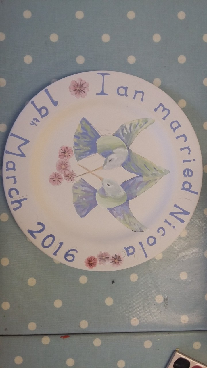 Wedding plate for friends before glazing