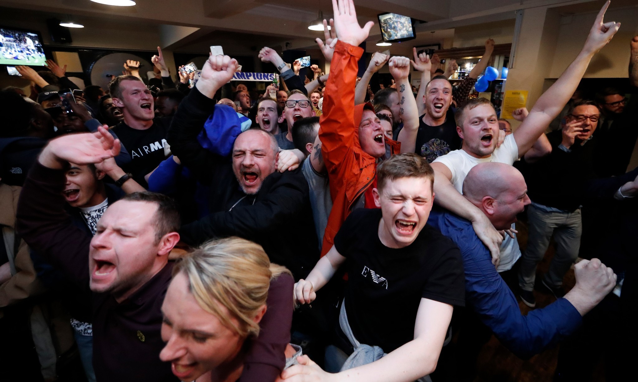 Leicester City fans celebrate following Premier League win – video
