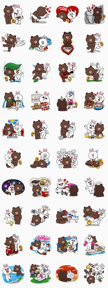 09/09(一) 土耳其區貼圖 - Brown & Cony's Lovey Dovey Date 免費(180天) line://shop/detail/1158