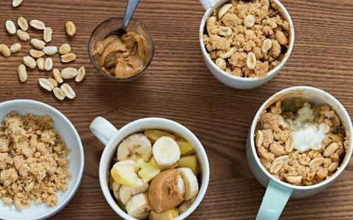 Banana, apple and peanut mug crumble recipe