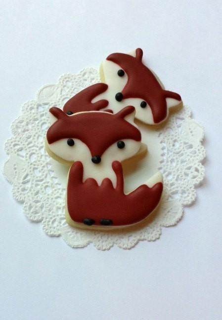 Little Fox Cookies - Small Woodland Sugar Cookies - 1 Dozen Cookies