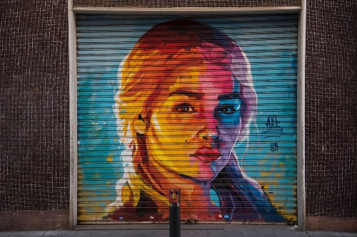 Street Art Portraying TV Characters in Barcelona