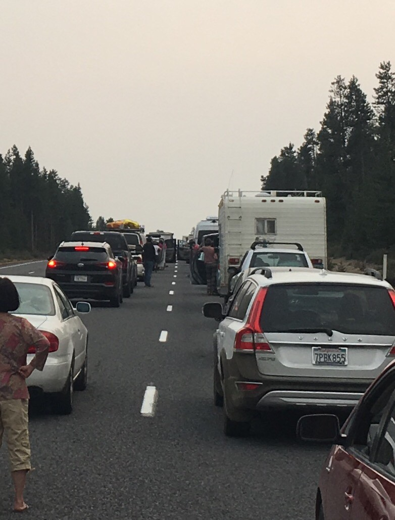 Eclipse chaser traffic stopped under a hazy sky, southbound Highway 97 in Central Oregon late Monday afternoon, August 21 2017, stretching for dozens of miles in both directions. Traffic continued heavy the way down to the San Francisco Bay Area