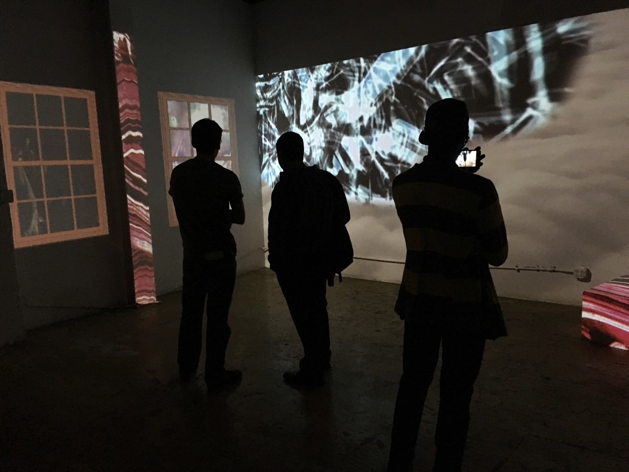 Bodies Take To Light video installation at Rabbit Hole gallery in Brooklyn by Dan O'Neil and Jimi Pantalon