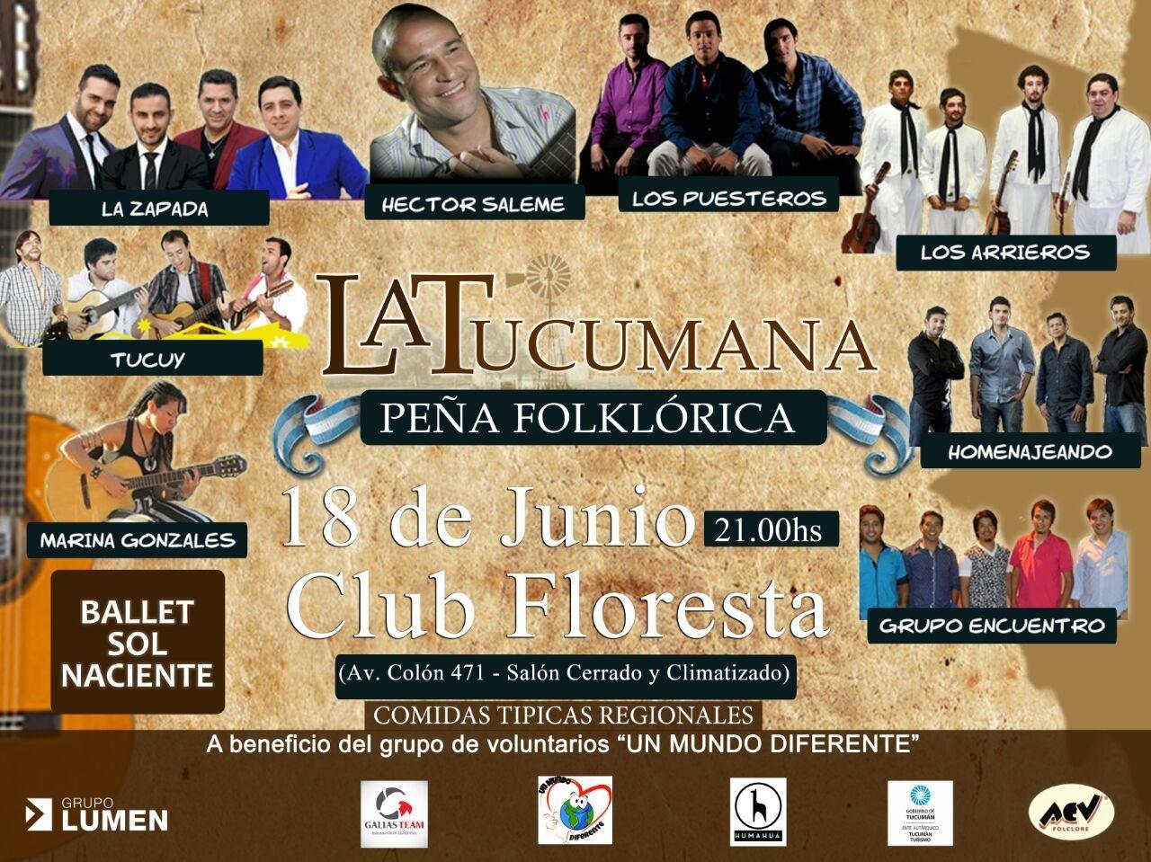El Sábado 18 de junio te esperamos para vivir #LaTucumana en el Club Floresta +info www.acvfolclore.com.ar