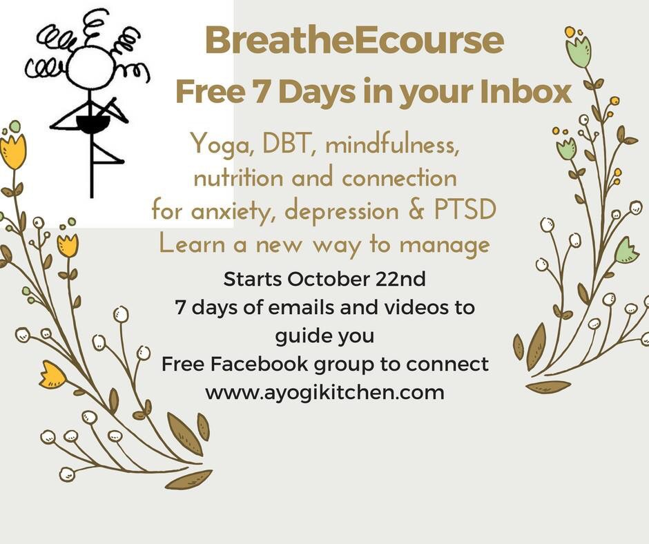 Free emails to help you manage anxiety and depression. Six days to change the way you think about your mental health. Yoga poses, breath work, dialectical behavior therapy skills, nutrition and self-care. I'm a yoga therapist and a mom who isn't perfect, but can show what I've done to put together more good days than bad. Joined me! Mel@ayogikitchen.com.