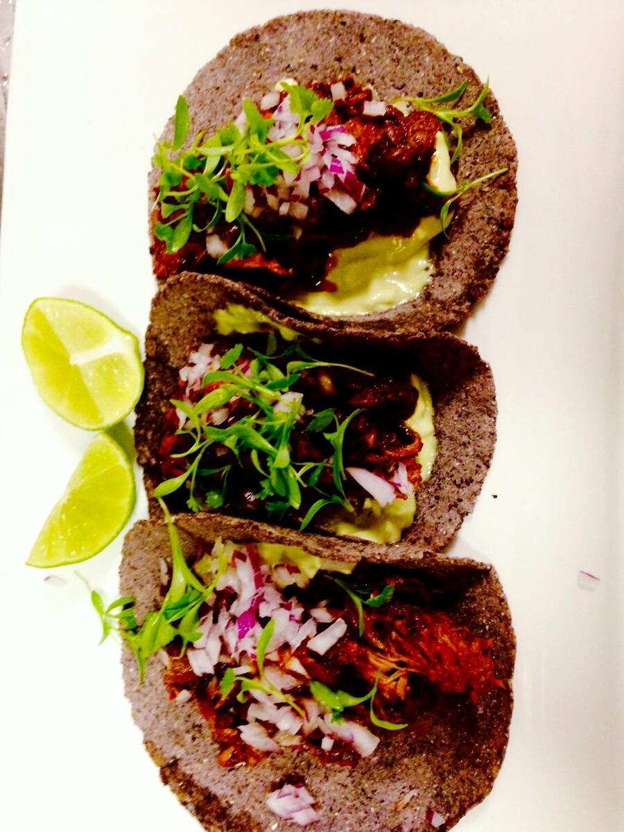 tacos de machaca with avocado remoulade.