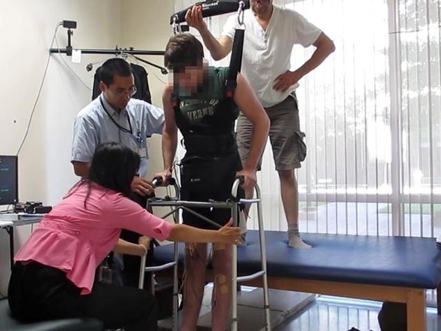 Paraplegic man walks with own legs again