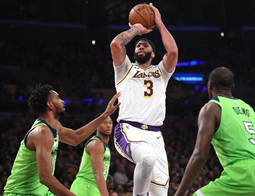 NBA roundup: AD drops 50, Lakers beat Wolves