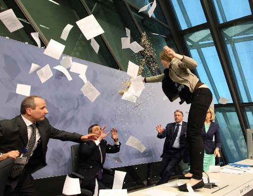 Protester Disrupts European Central Bank Press Conference
