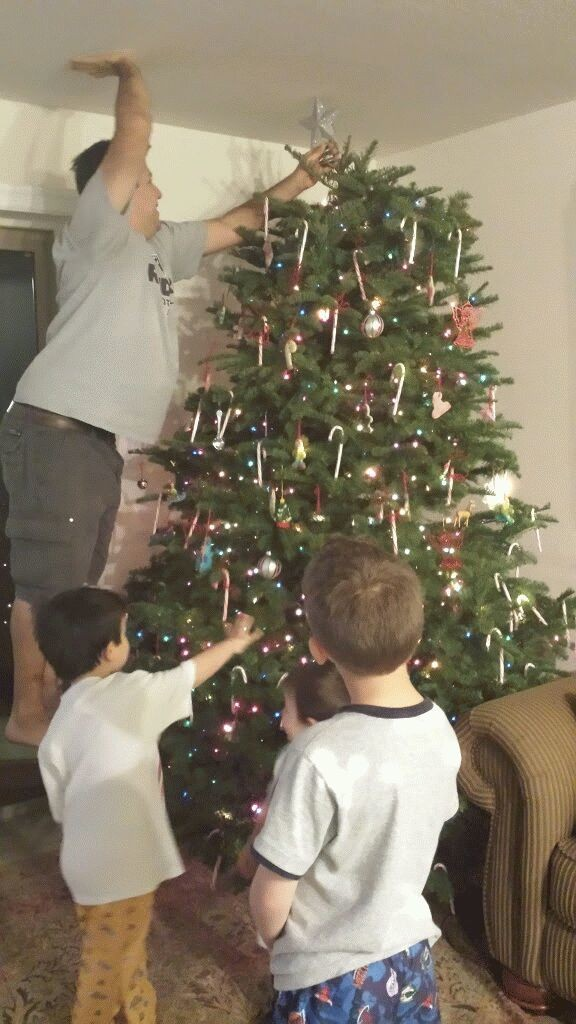 Dad putting the star on the tree.