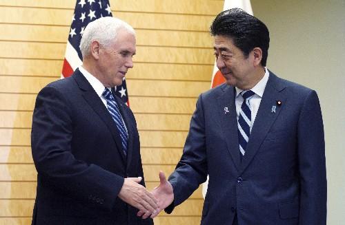 Pence, Abe agree on North Korea sanctions, new trade talks