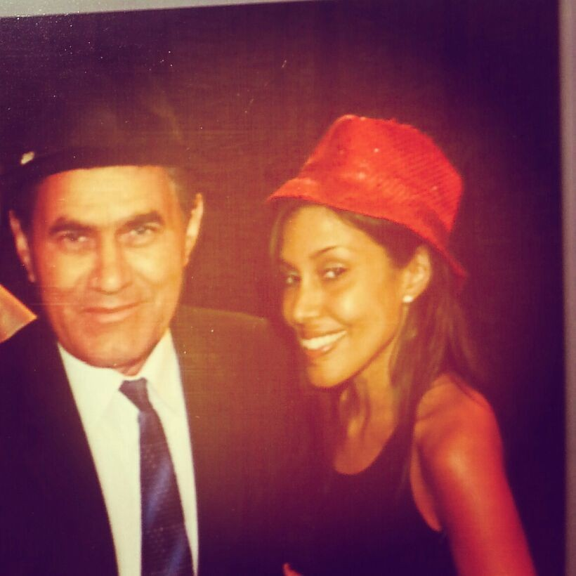 Me and my father. Photo booth fun! At wedding last weekend. Fun times. Hats! :)