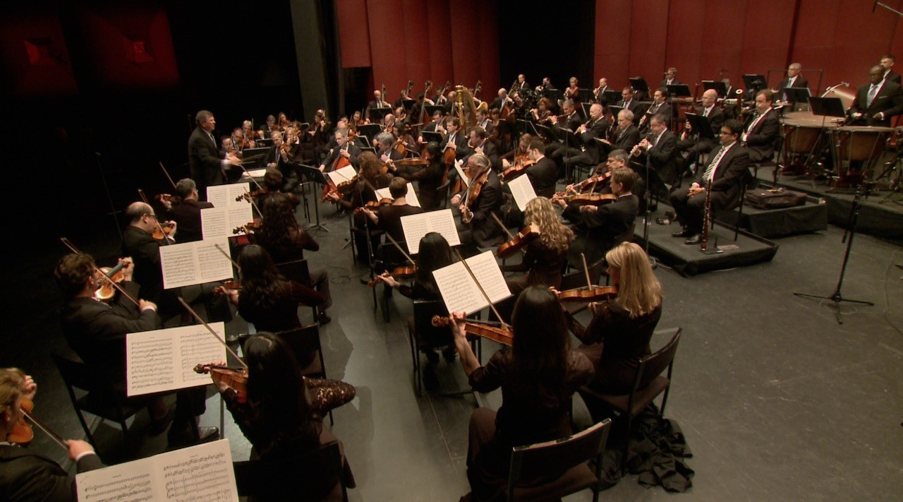 View of the orchestra from above.