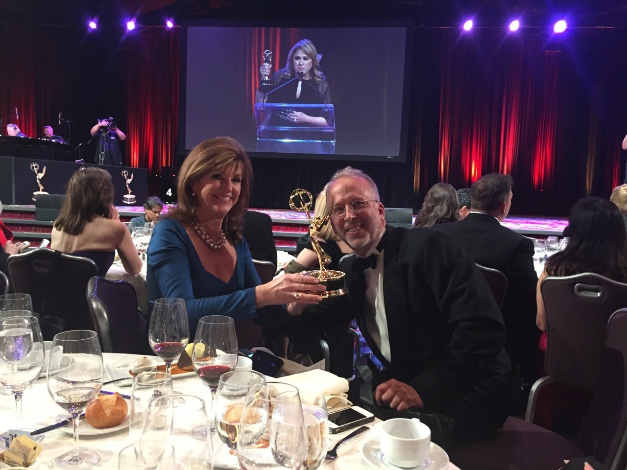 ASO Executive Director Paul Schwendener and Vice President of the board Susan Hutchison after the EMMY win.